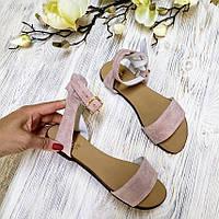 Красивые сандалии босоножки женские замшевые на плоской подошве цвет пудра, размер 34-42