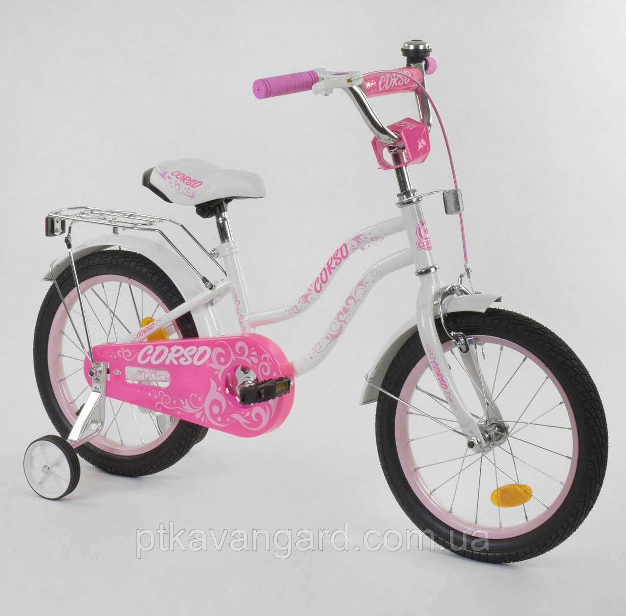 """Велосипед двухколёсный CORSO 16"""" БЕЛЫЙ, ручной тормоз, звоночек, доп. колеса, собранный на 75% Т-97795"""