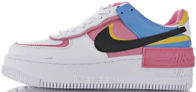 Женские кроссовки Nike Air Force Shadow White Peach Black Hайк Аир Форс Шадоу низкие белые разноцветные