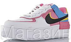 Женские кроссовки Nike Air Force Shadow White Peach Black Hайк Аир Форс Шадоу низкие белые разноцветные, фото 2