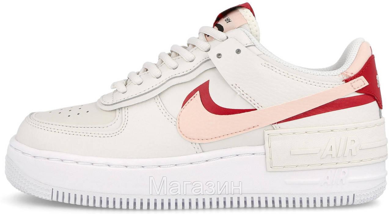 Женские кроссовки Nike Air Force Shadow White Echo Pink Hайк Аир Форс Шадоу низкие белые