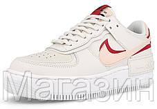Женские кроссовки Nike Air Force Shadow White Echo Pink Hайк Аир Форс Шадоу низкие белые, фото 2