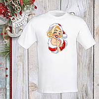 Футболка с новогодним принтом Мэрилин Монро в новогоднем костюме Push IT S, Белый