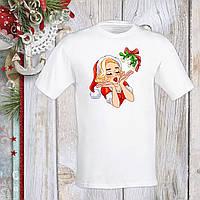 Футболка с новогодним принтом Мэрилин Монро в новогоднем костюме и омела Push IT S, Белый