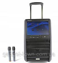 Портативна колонка c екраном SL12-13 з радіомікрофонами / 200W (USB/Bluetooth/Video))