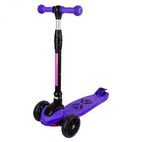 Самокат четырехколесный фиолетовый со  светящимися колесами