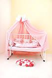 Балдахин и подъюбник на круглую кроватку,балдахин на кроватку детскую,балдахин розовый с бантом, фото 4