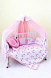 Балдахин и подъюбник на круглую кроватку,балдахин на кроватку детскую,балдахин розовый с бантом, фото 7
