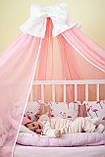 Балдахин и подъюбник на круглую кроватку,балдахин на кроватку детскую,балдахин розовый с бантом, фото 6