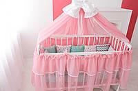 Балдахин и подъюбник на круглую кроватку,балдахин на кроватку детскую,балдахин розовый с бантом