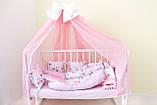Балдахин и подъюбник на круглую кроватку,балдахин на кроватку детскую,балдахин розовый с бантом, фото 8