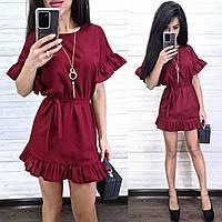 Женское платье лен с поясом и рюшами на рукавах и внизу (в расцветках)