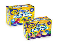Crayola Фарби змиваючі з блиском в баночках (59 мл) Washable Kids Paint, 2 набора в наборі 6 кольорів