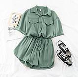 Костюм женский летний с шортами  Размеры 42-44, 46-48 Цвета: горчица, оливка, фото 3