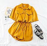 Костюм женский летний с шортами  Размеры 42-44, 46-48 Цвета: горчица, оливка, фото 2