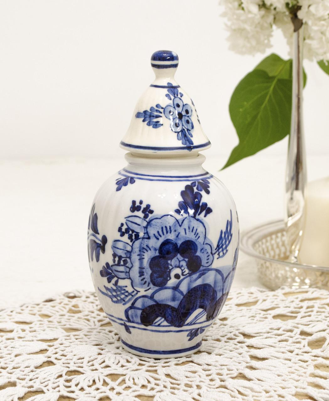 Коллекционная фарфоровая вазочка, банка с крышкой, Делфт, Delft, Голландия