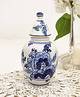 Коллекционная фарфоровая вазочка, банка с крышкой, Делфт, Delft, Голландия, фото 1