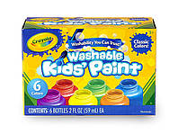 Crayola Набір змиваючих фарб гуаш 6 кольорів Washable Kids Paint Classic Colors
