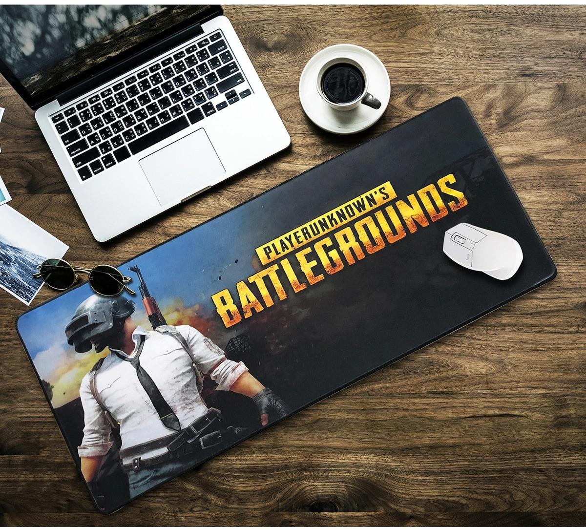 БОЛЬШОЙ геймерский коврик для мышки и клавиатуры игровая поверхность BATTLEGROUNDS R-700 (70х30см)
