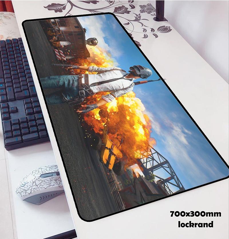 БОЛЬШОЙ геймерский коврик для мышки и клавиатуры игровая поверхность PUBG R-700 (70х30см)