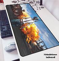 БОЛЬШОЙ геймерский коврик для мышки и клавиатуры игровая поверхность PUBG R-700 (70х30см), фото 1
