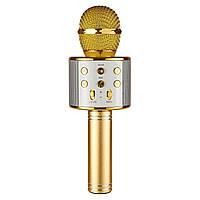 Детский беспроводной караоке bluetooth микрофон Wster WS-858 Gold