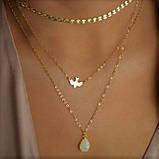 """Багатошаровий жіночий ланцюжок """"Пташиний політ"""" золотиста, фото 5"""