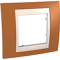 Рамка 1-модульная, оранжевый/слоновая кость Unica Plus