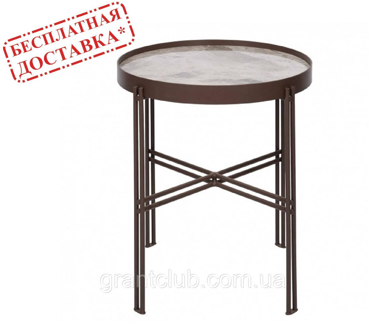 Стол журнальный ETON S (48х48х38 см) керамика светло-серый глянец Nicolas (бесплатная доставка)
