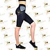Жіночі спортивні бриджі велосипедки з кишенями з сітки чорні з сірими вставками, фото 2