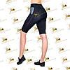 Жіночі спортивні бриджі велосипедки з кишенями з сітки чорні з сірими вставками, фото 3