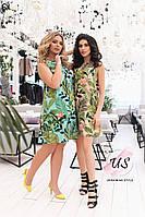 Женское батальное летнее платье с тропическими принтами. 3 цвета!