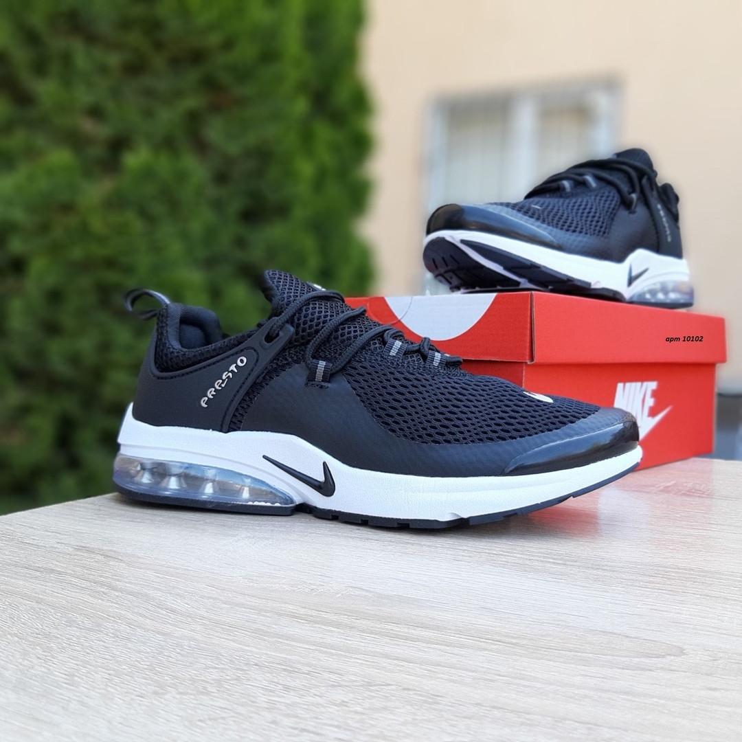Мужские кроссовки Nike Air Presto Чёрные на белой