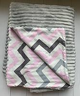 Плюшевий плед на кушетку 120 см 160 см - світло-сірий шарпей, фото 1