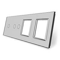 Сенсорная панель выключателя Livolo 3 канала и две розетки (1-2-0-0) серый стекло (VL-C7-C1/C2/SR/SR-15), фото 1