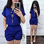 Женский костюм лен: блуза и шорты (2 цвета), фото 3
