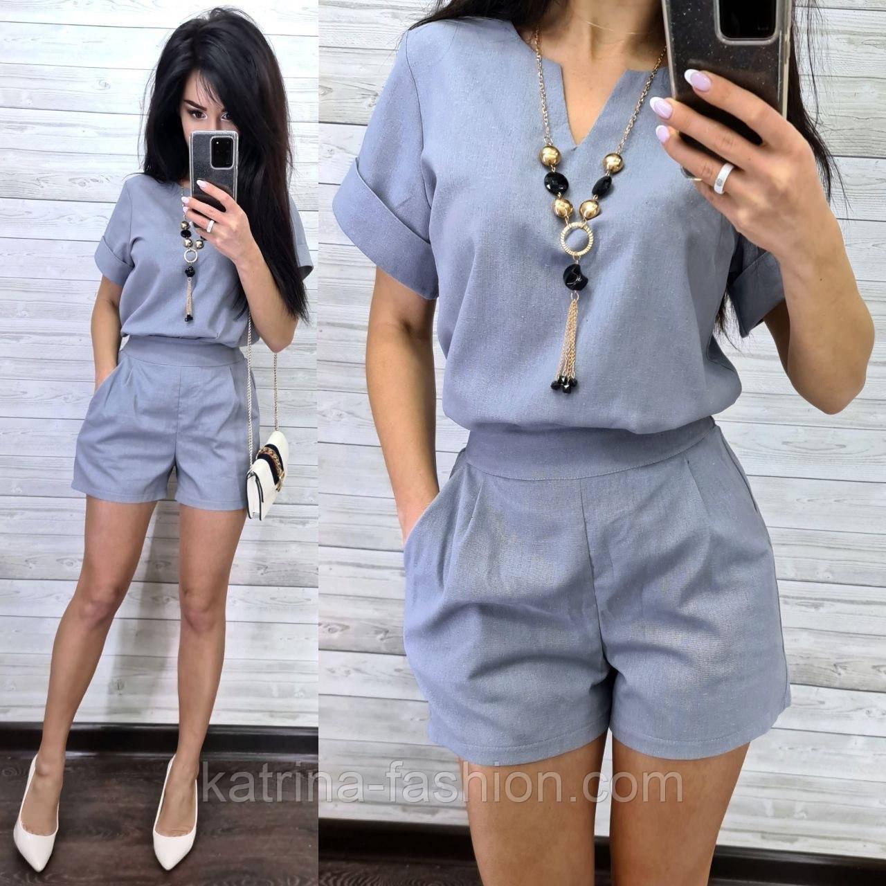 Женский костюм лен: блуза и шорты (2 цвета)