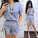 Женский костюм лен: блуза и шорты (2 цвета), фото 4