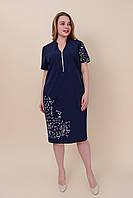 Летнее платье из ткани бенгалин с надписями. Большой размер Размеры 52, 54, 56, 58. Лето 2020, фото 1
