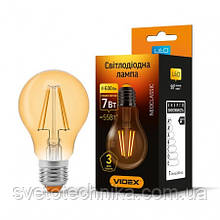 Лампа Эдисона филамент  Videx  A60F 6w E27 2200K бронза