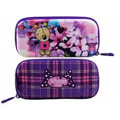 Пенал для девочки Winner фиолетовый с мишкой P-201