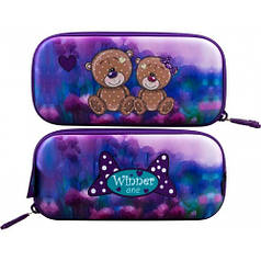 Пенал для девочки Winner фиолетовый с мишками P-204
