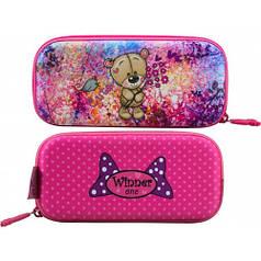 Пенал для девочки Winner розовый с мишкой P-207