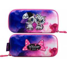 Пенал для девочки Winner розовый с котиками P-211