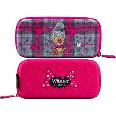 Пенал для девочки Winner розовый с мишкой P-212
