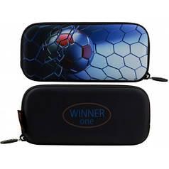 Пенал для мальчика Winner черный с футбольным мячом P-215