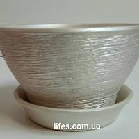 Фиалочница керамическая серебро КС19