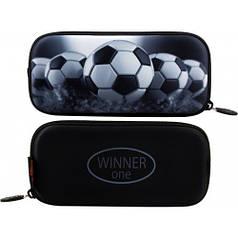 Пенал для мальчика Winner черный с футбольным мячом P-216