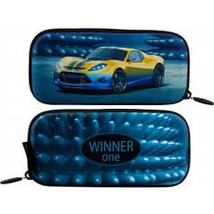 Пенал для мальчика Winner синий с машиной P-218