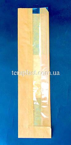 Пакет бумажный саше бурый 75х310х60 + окно 45 (импортный крафт), фото 2
